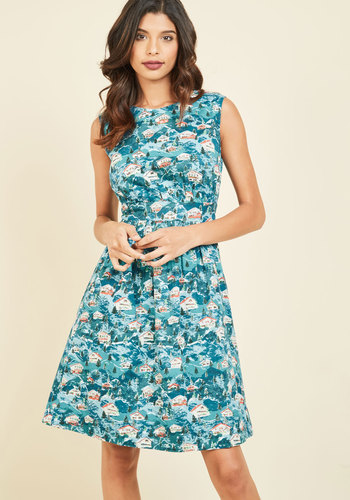 Too Much Fun A-Line Dress in Winter Getaway by Emily and Fin - Multi, Blue, Novelty Print, Print, Pockets, Casual, Holiday, Daytime Party, Vintage Inspired, 50s, Fit & Flare, Sleeveless, Winter, Woven, Best, Blue, Under 100 Gifts, Mid-length, Holiday Gifts, Quirky