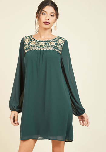 She's Be-Cider-Self Long Sleeve Dress - Short, Green, Embroidery, Casual, Boho, Tent / Trapeze, Long Sleeve, Fall, Boat
