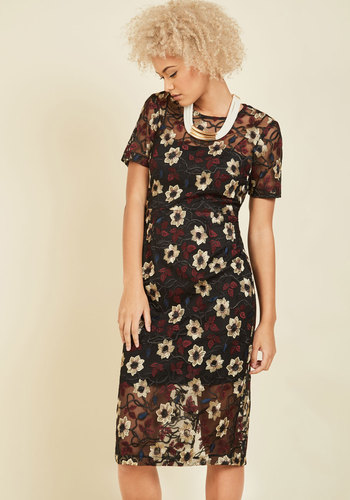 My Mystique Midi Dress - Multi, Black, Floral, Print, Embroidery, Special Occasion, Work, Cocktail, Wedding Guest, Sheath, Short Sleeves, Fall, Winter, Woven, Exceptional, Scoop, Black, Sheer