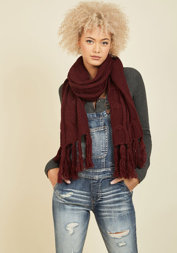 Cable Knit Capability Scarf in Burgundy - Red, Knitted, Fall, Better, Knit, Winter