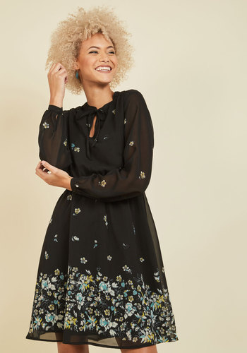 Workday Dazzle Floral Dress by Yumi - Black, Green, Floral, Print, Tie Neck, Work, Daytime Party, A-line, Long Sleeve, Fall, Winter, Woven, Best