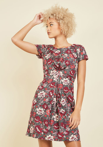 This One's Fleur You Floral Dress by Yumi - Red, Grey, Floral, Print, Work, Daytime Party, Wedding Guest, Nature, Short Sleeves, Summer, Fall, Mid-length, Crew