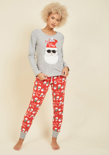In the Nick of Clime Pajamas - Grey, Red, Novelty Print, Print, Lounge, Quirky, Fall, Winter, Better, Holiday