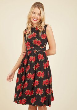 Too Much Fun A-Line Dress in Poinsettias - Long