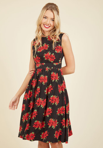 Emily and Fin Too Much Fun A-Line Dress in Poinsettias - Long
