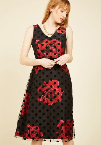 Refined Art A-Line Dress - Red, Black, Polka Dots, Floral, Print, Party, Cocktail, A-line, Sleeveless, Fall, Winter, Woven, Best, V Neck, Holiday Party