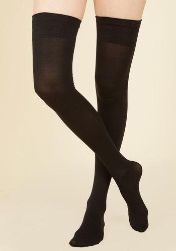 Affluent Adornment Thigh Highs - Black, Sheer, Work, Girls Night Out, Pinup, Boudoir