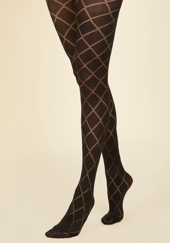 Famous Lattice Words Tights - Black, Checkered / Gingham, Print, Party, Work, Cocktail, Girls Night Out, Holiday Party, Fall, Winter, Gals