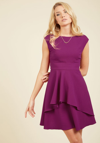 Pirouetting Presence A-Line Dress by Eliza J - Purple, Solid, Ruffles, Party, Wedding Guest, A-line, Short Sleeves, Woven, Best, Scoop, Saturated