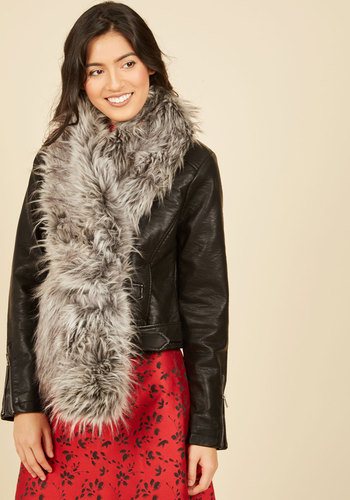 Stole My Heart Scarf in Smoke - Grey, Luxe, Statement, Fall, Winter, Faux Fur, Holiday Party