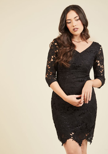Pleased to Partake Lace Dress in Noir - Black, Solid, Party, Girls Night Out, Bodycon / Bandage, 3/4 Sleeve, Spring, Summer, Fall, Winter, Lace, Better, V Neck, Woven, Mid-length, Lace, Holiday Party, LBD