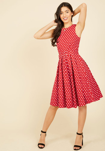 Lindy Hop and You Don't Stop A-Line Dress in Red - Red, White, Polka Dots, Print, Daytime Party, Valentine's, Pinup, Vintage Inspired, 50s, Fit & Flare, Sleeveless, Spring, Summer, Fall, Winter, Woven, Good