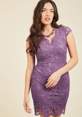 Elegant Moments Lace Dress in Lilac - Purple, Solid, Party, Cocktail, Girls Night Out, Bodycon / Bandage, Cap Sleeves, Spring, Summer, Fall, Winter, Lace, Better, Woven, Crochet, Lace, Scallops, Special Occasion, Holiday Party, Valentine's, Homecoming, Wedding Guest, Vintage Inspired, 80s, Sheath, Short, V Neck