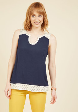 Notch so Fast! Sleeveless Top in Navy Dots