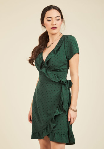 Ruffle and Bustle Wrap Dress - Green, Polka Dots, Print, Work, A-line, Short Sleeves, Fall, Woven, Better, Exclusives, Mid-length, 20s