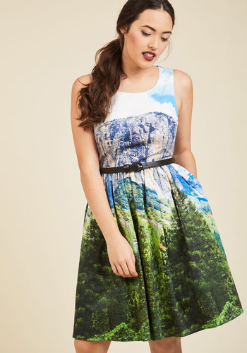 Festive Frondescence A-Line Dress in Alpine by ModCloth - Multi, Novelty Print, Print, Casual, Fit & Flare, Sleeveless, Fall, Woven, Exceptional, Exclusives, Private Label, Blue, Green, Long, Green, Global, Belted, Work, Daytime Party, Graduation, Sundress, Vintage Inspired, 50s, Statement, Travel, Rustic, Americana, Pockets, Store 2