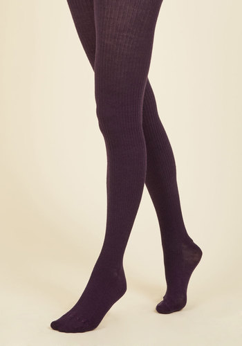 Homework Bound Tights in Plum - Purple, Solid, Casual, Fall, Winter, Best, Knit