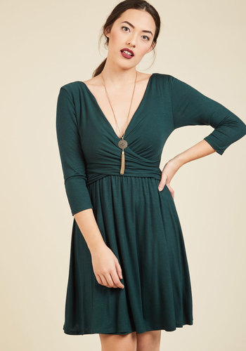 Takes You to Tango Jersey Dress - Green, Solid, Casual, A-line, 3/4 Sleeve, Fall, Knit, Good, Mid-length, Jersey