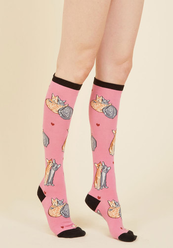 A Tail of Love Socks - Pink, Black, Print with Animals, Print, Casual, Valentine's, Cats, Spring, Winter, Good, Knee-High, Cotton, Knit, Critter Gifts, Stocking Stuffers, Under 50 Gifts, Under 25 Gifts