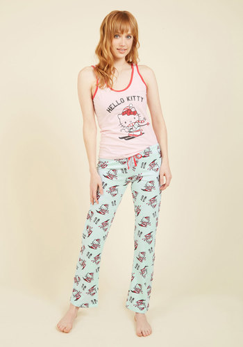 Kawaiis and Wherefores Pajamas - Pink, Red, Print with Animals, Print, Lounge, Cats, Fall, Winter, Better, Cotton