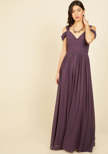 Bonne Salutations Maxi Dress - Purple, Solid, Special Occasion, Wedding, Cocktail, Bridesmaid, Boho, Maxi, Fit & Flare, Sleeveless, Winter, Woven, Long, Pleats, Ruching, Prom, Holiday Party, Homecoming, Wedding Guest, Vintage Inspired, 70s, Luxe, Fairytale, Spring, Summer, Fall, Best, V Neck
