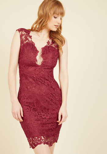 One Momentous to the Next Lace Dress in Wine - Red, Lace, Special Occasion, Party, Cocktail, Girls Night Out, Daytime Party, French / Victorian, Bodycon / Bandage, Sleeveless, Fall, Winter, Lace, Best, Mid-length, Holiday Party, Saturated, Sheer