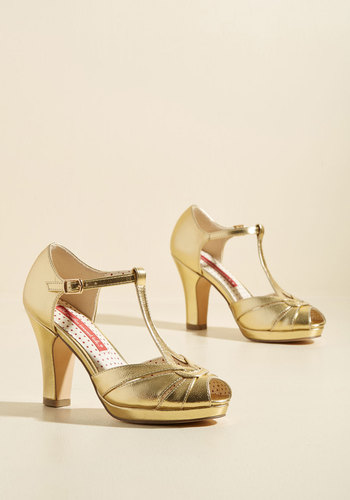 Retro & Vintage Style Shoes Take Your Dances Heel in Metallic Gold $74.99 AT vintagedancer.com