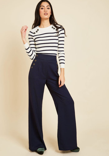 Every Opportunity Pants in Navy - Wide Leg, Good, Full length, Blue, Non-Denim, Blue, Solid, Buttons, Casual, Nautical, Military, High Waist, Ultra High Rise, Pockets, Vintage Inspired, 40s, Variation, Spring, Fall, Summer, Work, 60s, 70s, Winter, Knit, Best Seller, Neutral, HP Featured