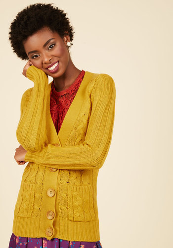 1920sStyleBlouses Your Fireside of the Story Cardigan in Honey $44.99 AT vintagedancer.com