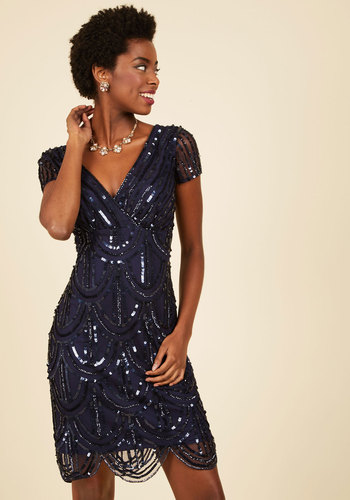 Cascading Cava Sequin Dress in Midnight