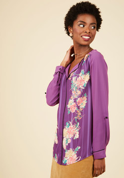 Podcast Co-Host Top in Purple Floral