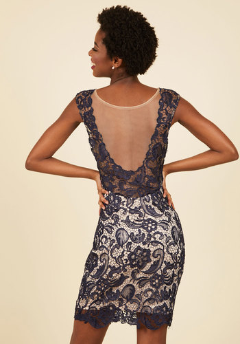 One Momentous to the Next Lace Dress in Navy - Blue, Sequins, Special Occasion, Cocktail, Girls Night Out, Holiday Party, Boho, Bodycon / Bandage, Sleeveless, Fall, Winter, Lace, Best, Mid-length, Lace, Sheer