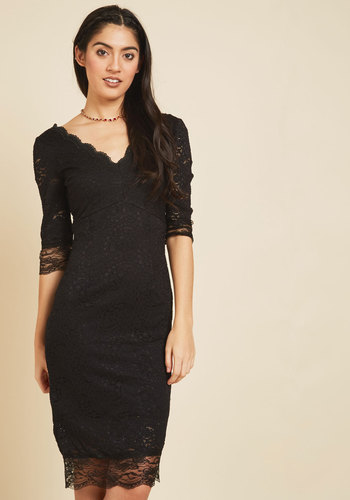 Villa Vixen Lace Dress - Knit, Long, Homecoming, Lace, Special Occasion, Cocktail, Girls Night Out, LBD, Shift, 3/4 Sleeve, V Neck, Best Seller, Best Seller, Lace, Holiday Party