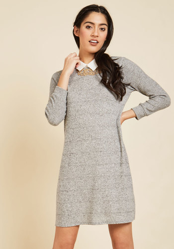 Ardent Academic Sweater Dress in Fossil - Grey, Solid, Work, Casual, A-line, Sweater Dress, 3/4 Sleeve, Fall, Winter, Knit, Better, Exclusives, Private Label, Mid-length