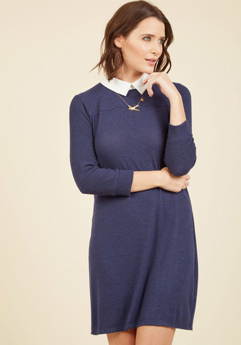 Ardent Academic Sweater Dress in Indigo - Knit, Mid-length, Blue, Work, Casual, Scholastic/Collegiate, Minimal, Sweater Dress, 3/4 Sleeve, Short, Exclusives, Collared