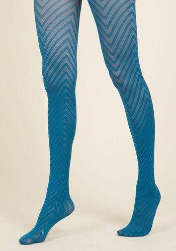 Fashionably Emulate Tights in Teal - Blue, Chevron, Boho, Urban, Darling, Festival, Store 1