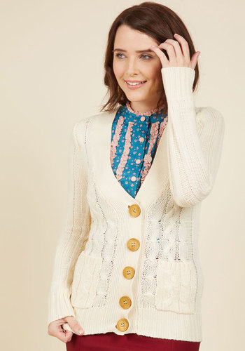 Your Fireside of the Story Cardigan in Cream - Cream, Buttons, Pockets, Long Sleeve, Mid-length, Solid, Casual, Better, Fall, Winter, V Neck
