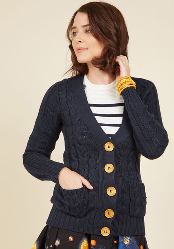 Your Fireside of the Story Cardigan in Navy - Blue, Solid, Pockets, Long Sleeve, Better, Knit, Buttons, Knitted, Scholastic/Collegiate, Variation, V Neck, Blue, Long Sleeve, Mid-length, Winter