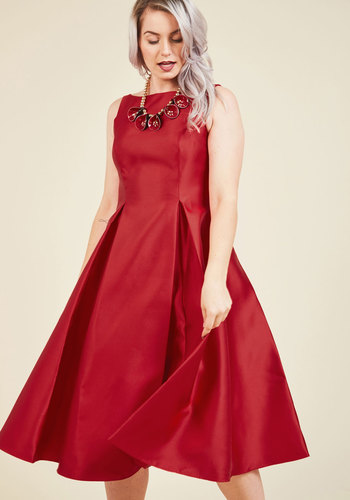 Careful What You Lavish For Midi Dress in Crimson by Adrianna Papell - Red, Solid, Special Occasion, Party, Cocktail, Holiday Party, Homecoming, Wedding Guest, Vintage Inspired, 50s, Fit & Flare, Sleeveless, Fall, Winter, Woven, Exceptional, Scoop, Long