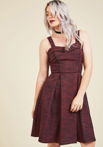 After-Hours Eats A-Line Dress - Under 100 Gifts, Red, Solid, Daytime Party, Valentine's, Pinup, Vintage Inspired, 50s, Fit & Flare, Sleeveless, Fall, Winter, Woven, Better, Exclusives, Holiday Gifts, Long, Casual, Sweetheart, Saturated