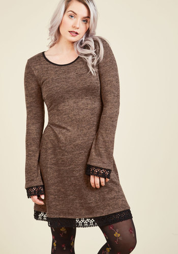 Ahem, a Hem Long Sleeve Dress in Mocha - Brown, Solid, Casual, Shift, Long Sleeve, Fall, Winter, Knit, Better, Exclusives, Private Label, Under 100 Gifts, Short, Cozy2015, Lace, Lace