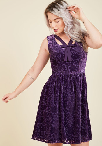 Mystery Dinner Theater Velvet Dress in Amethyst - Mid-length, Purple, Solid, Bows, Party, Cocktail, Holiday Party, A-line, Sleeveless, Fall, Winter, Knee, Knit, Velvet, Exclusives, Private Label, ModCloth Label, Scoop, Special Occasion, Wedding Guest, Vintage Inspired, 90s, Fit & Flare, Better