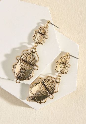My Heart Skips a Beetle Drop Earrings - Gold, Party, Work, Cocktail, Girls Night Out, Critters, Winter, Good, Vintage Inspired, Quirky