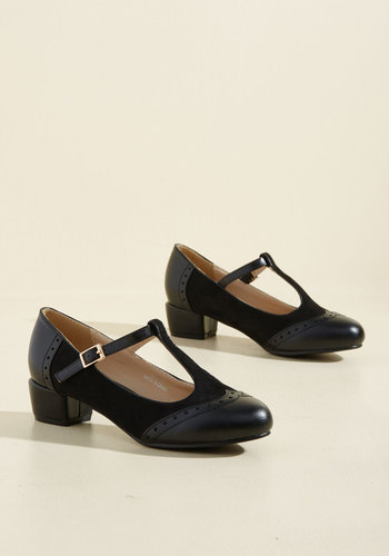1920s Style Shoes Anywhere You Tango Heel in Noir $53.99 AT vintagedancer.com