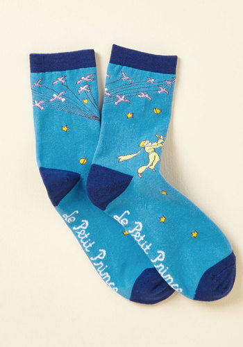 So Far as to Francais Socks by Out of Print - Store 1, Blue, Yellow, Nifty Nerd, Cosmic, Stocking Stuffers