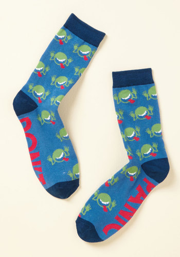 No More Mr. Nice Guide Socks by Out of Print - Blue, Green, Novelty Print, Casual, Quirky, Sci-fi, Nifty Nerd, Sayings, Spring, Fall, Winter, Better, Blue, Saturated, Under $20, Stocking Stuffers, Unique Gifts, Under 25 Gifts