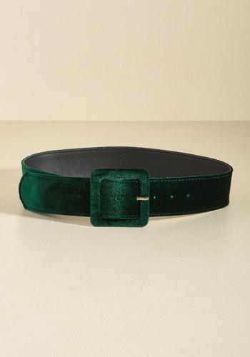 Vintage Retro Belts Haute Habits Velvet Belt in Pine $29.99 AT vintagedancer.com