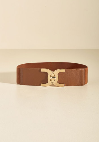 Ever Cinch We Met Belt - Brown, Gold, Buckles, Work, Casual, Fall, Faux Leather, Better