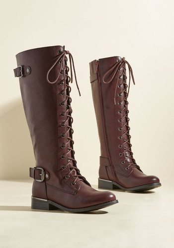 By Land, Sea, or Flair Boots in Mahogany