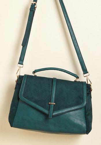 Twenty-Twenty Visit Bag - Green, Solid, Work, Casual, Winter, Faux Leather, Faux Suede, Better, Tis the Season Sale, Store 1